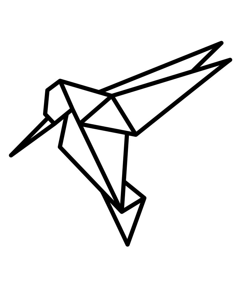 Раскраска бумажный колибри