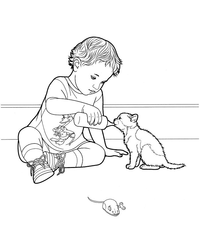 Раскраска Мальчик дает кошачье молоко
