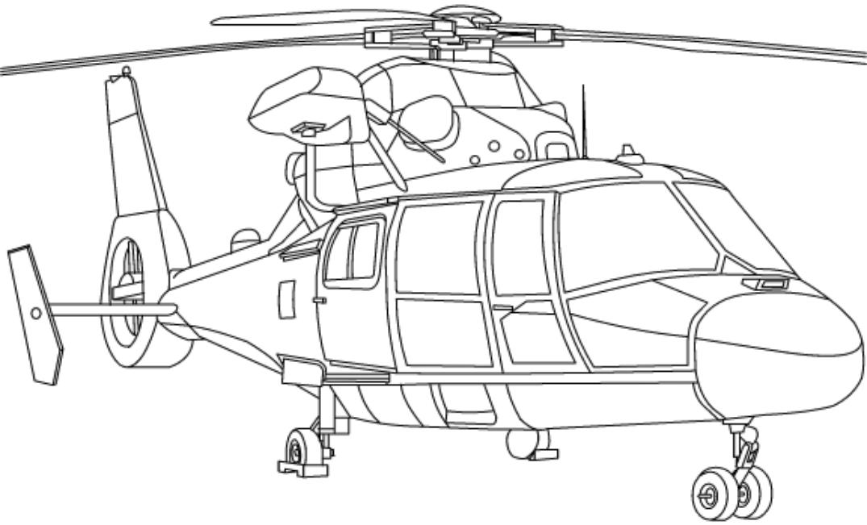 Раскраска Военный вертолет 2
