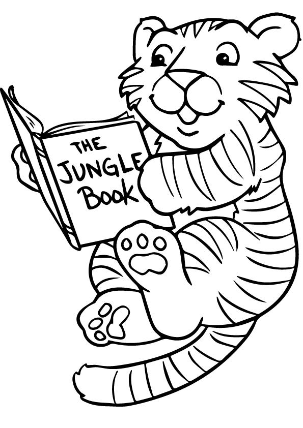 Раскраска тигр читал книгу