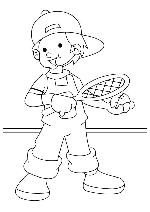 Раскраска мальчик играет в теннис