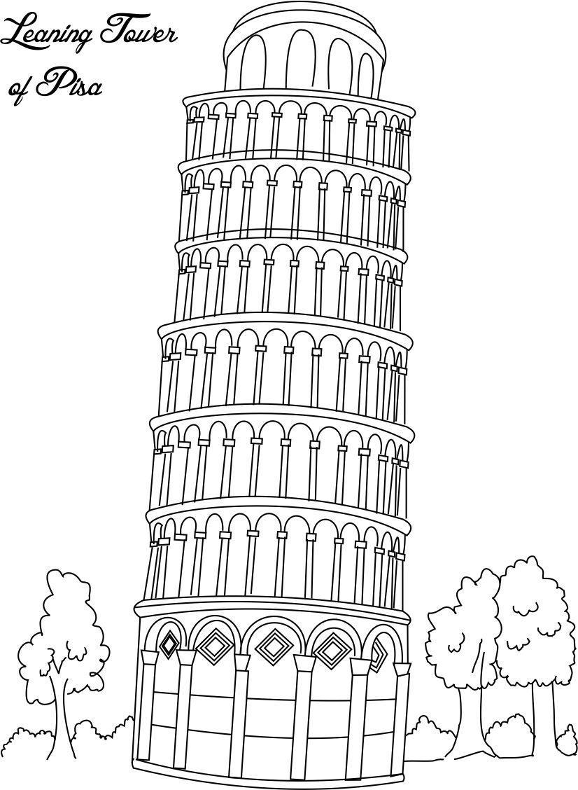 Раскраска Пизанская башня