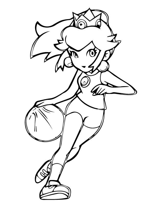 Раскраска Принцесса Пич играет в баскетбол