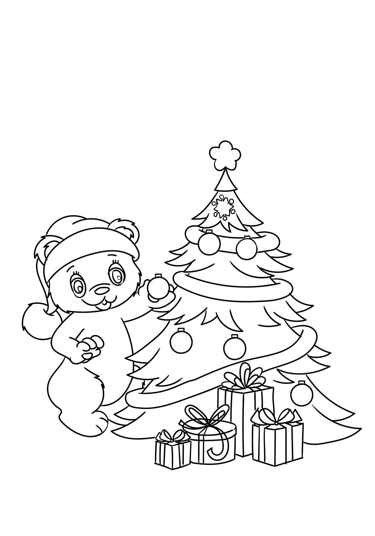 Раскраска Тедди украшая елку
