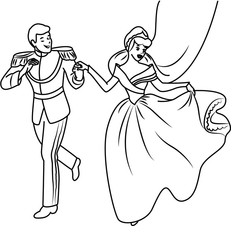 Раскраска Золушка и принц
