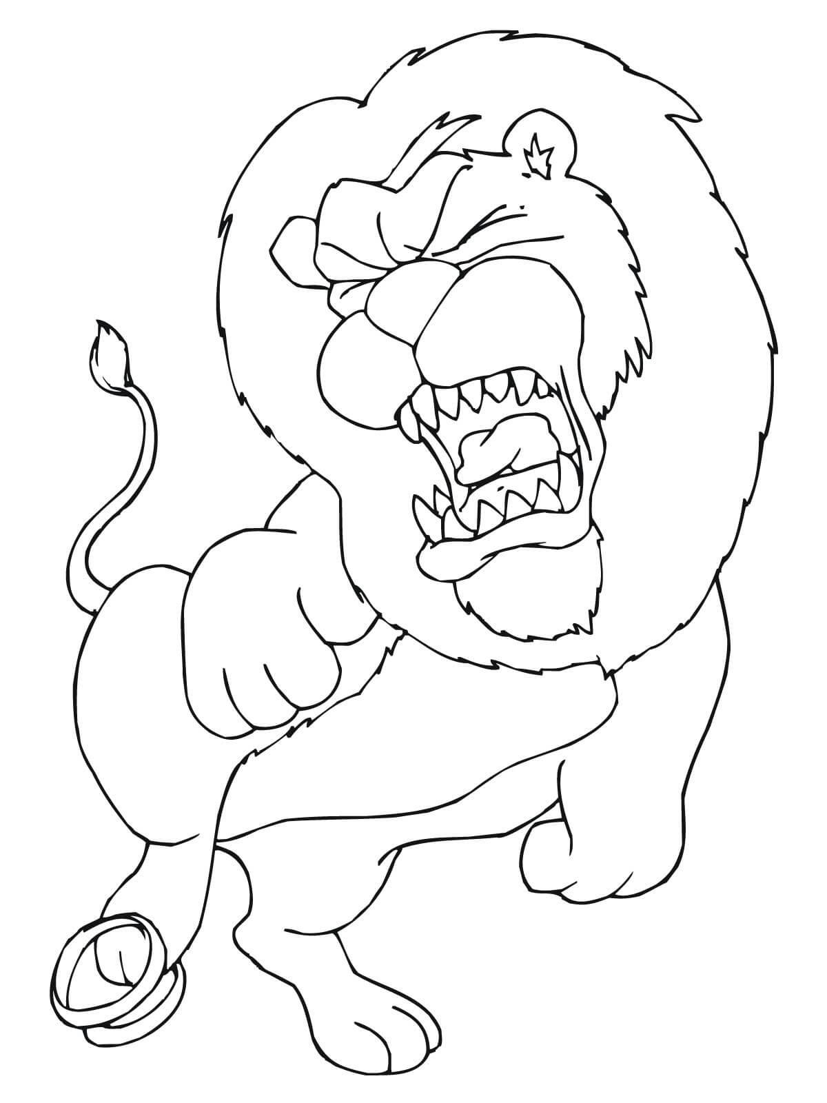 Раскраска лев в боли