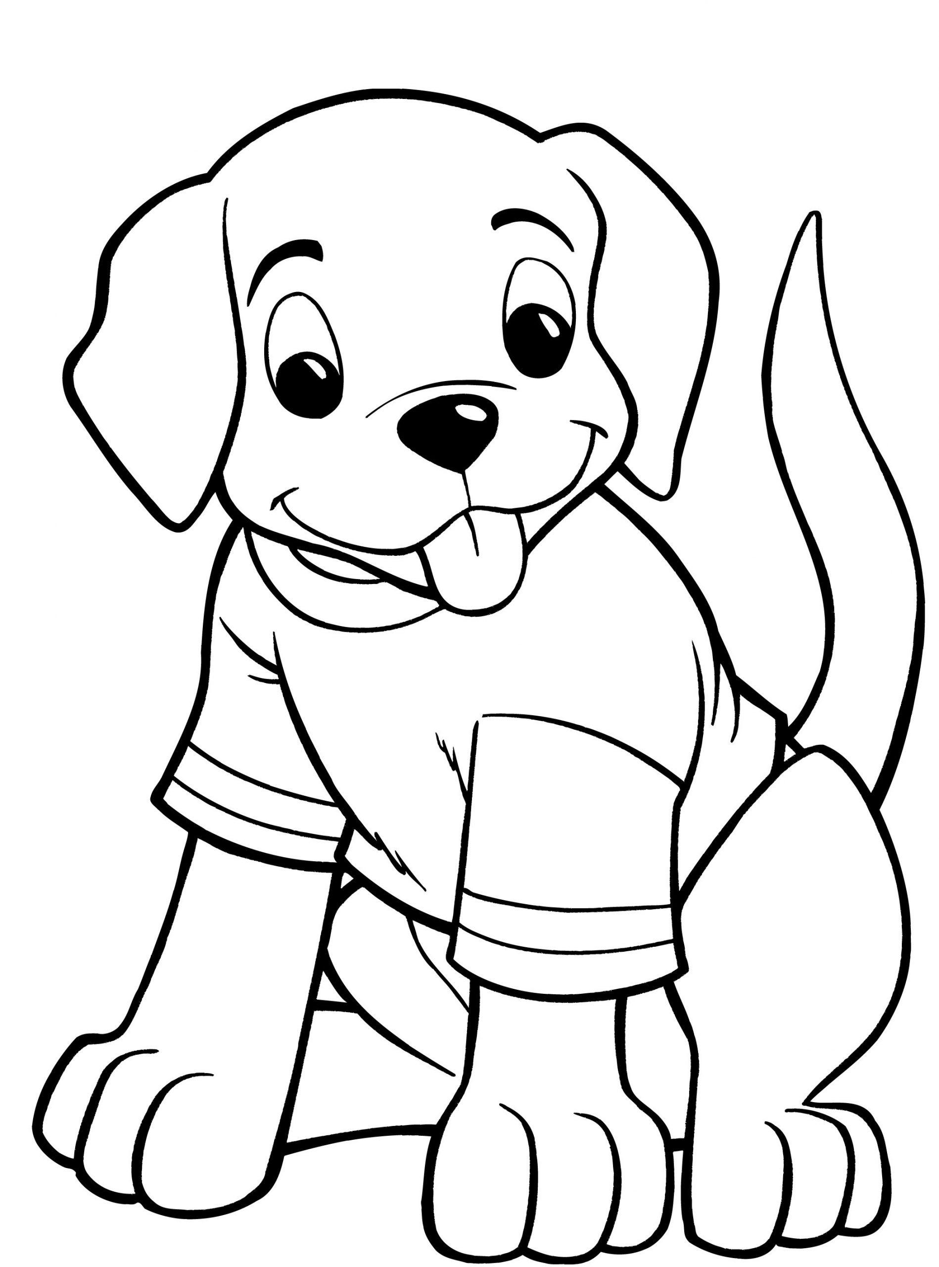 Раскраска собака носить рубашку