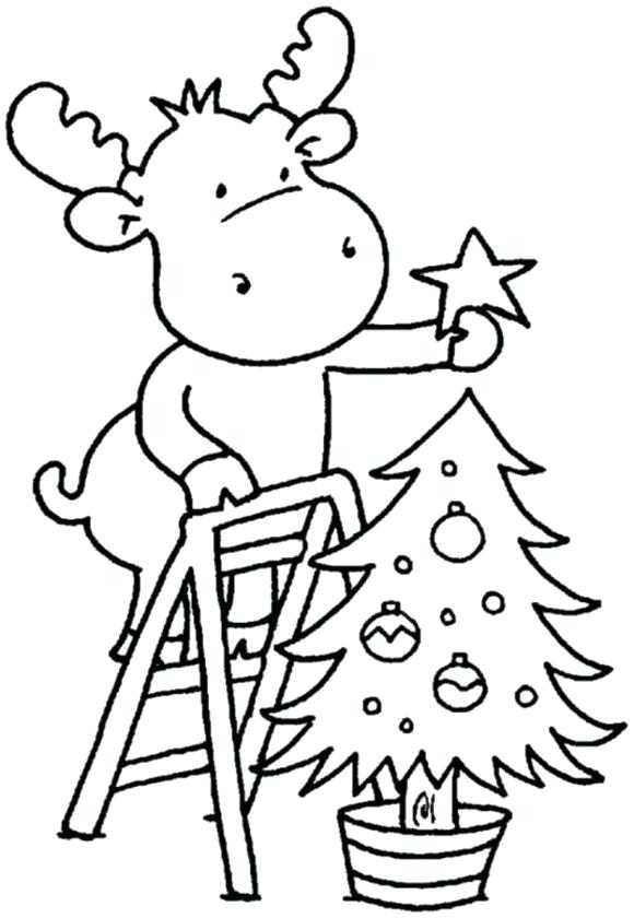 Раскраска Олени украшают елку