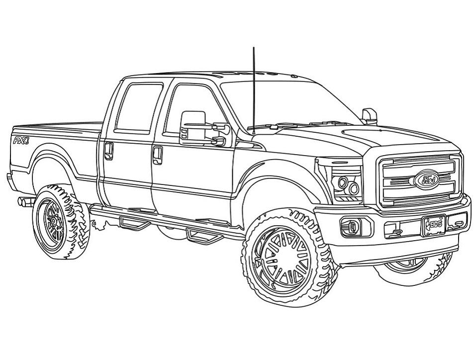 Раскраска Грузовик 2014 Ford F250
