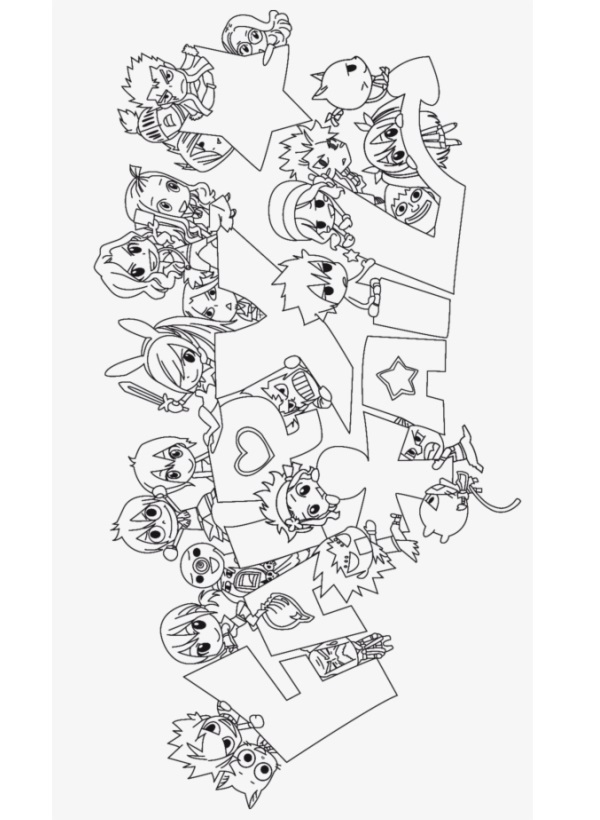 Раскраска Раскраски Хвост Феи ( Fairy Tail )