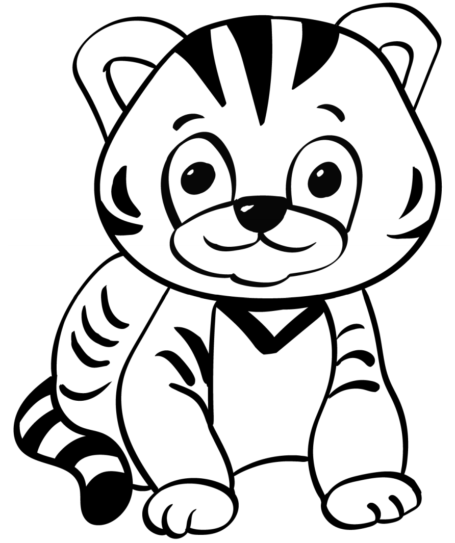 Раскраска Маленький тигр
