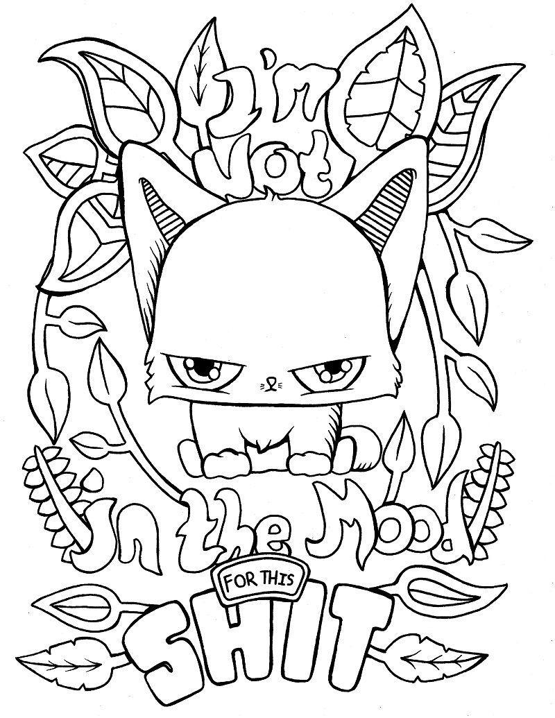 Раскраска злой кот