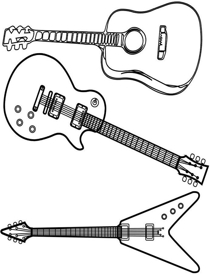 Раскраска 3 вида гитары