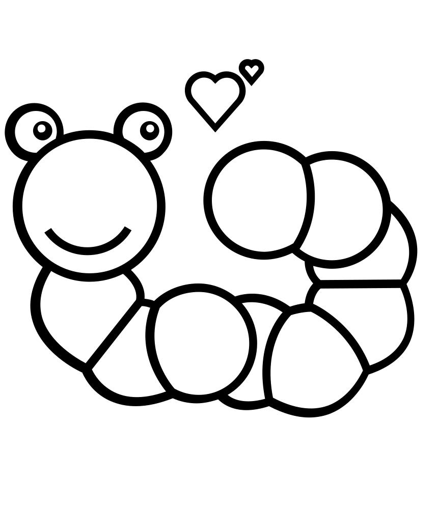 Раскраска влюбленный червь