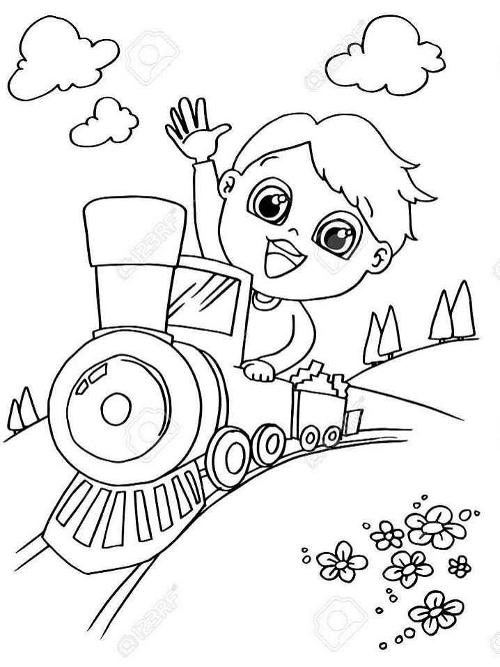 Раскраска мальчик в поезде
