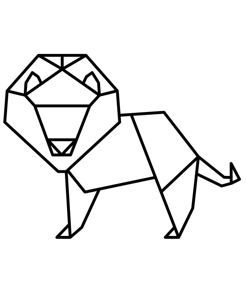 Раскраска бумажный лев