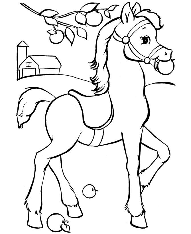 Раскраска лошадь ест яблоко