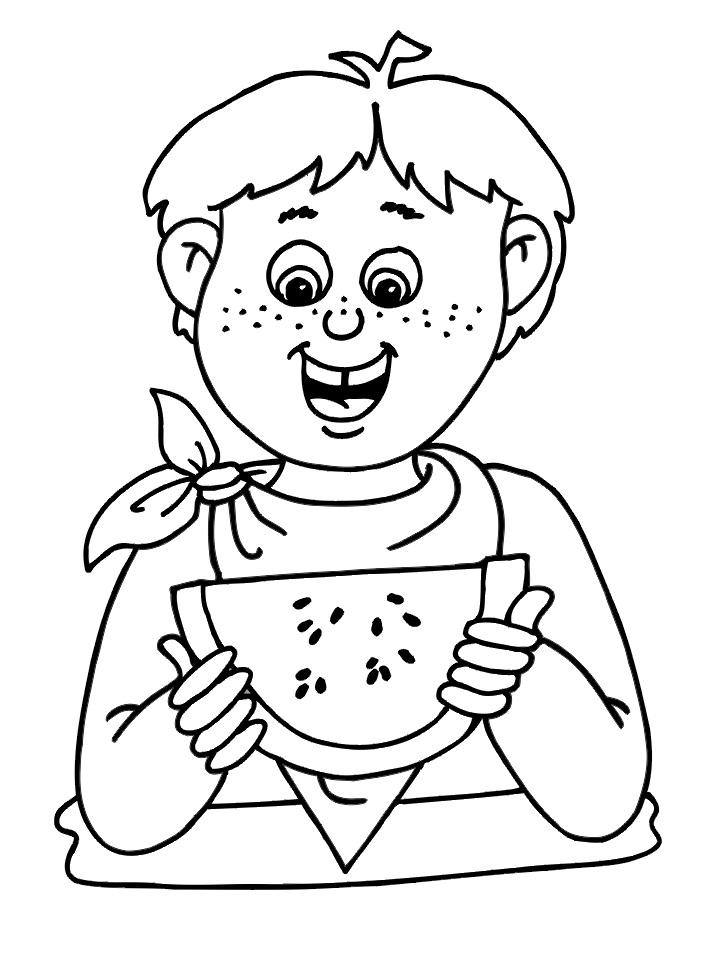 Раскраска мальчик ест арбуз