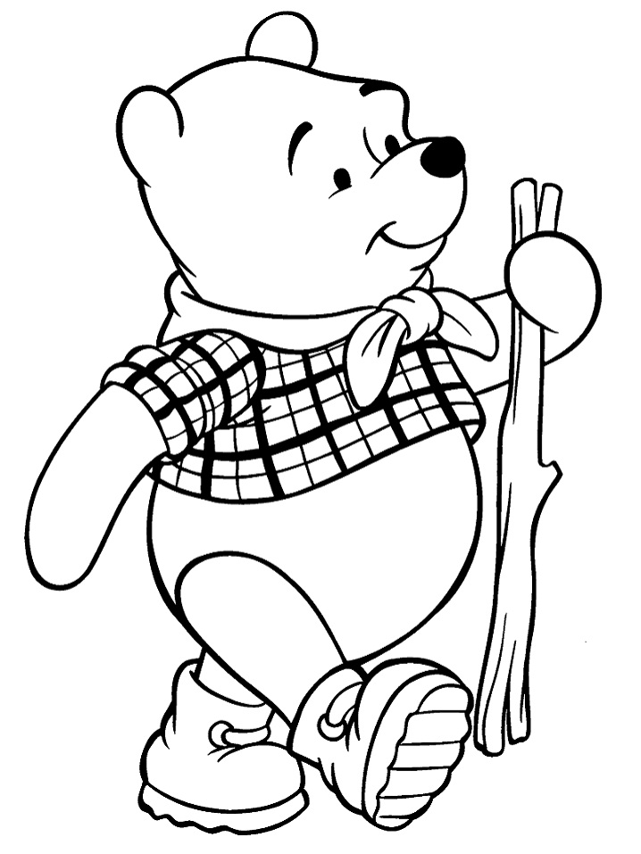 Раскраска Винни-Пух с палкой