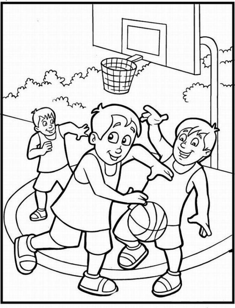 Раскраска мальчики с баскетболом