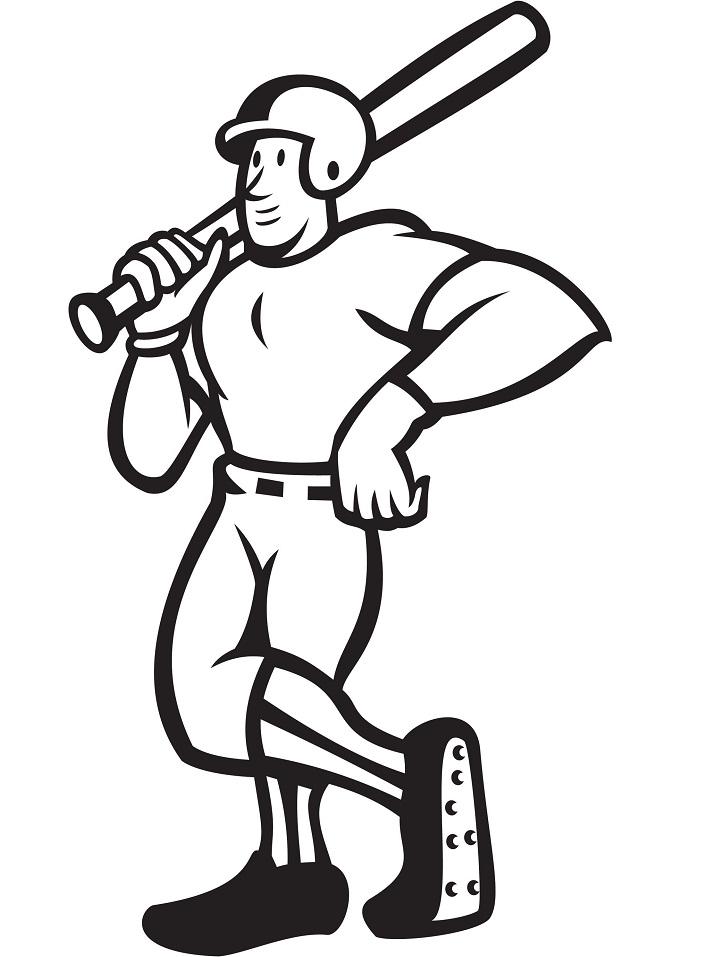 Раскраска Бейсболист-защитник