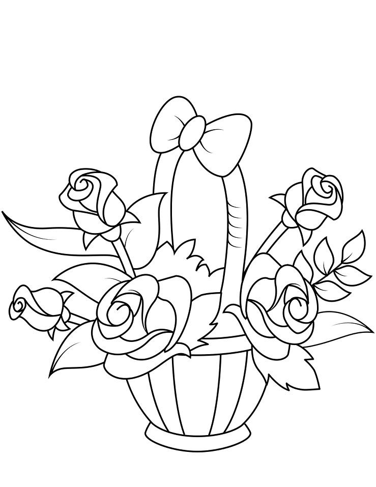 Раскраска Корзина с розами