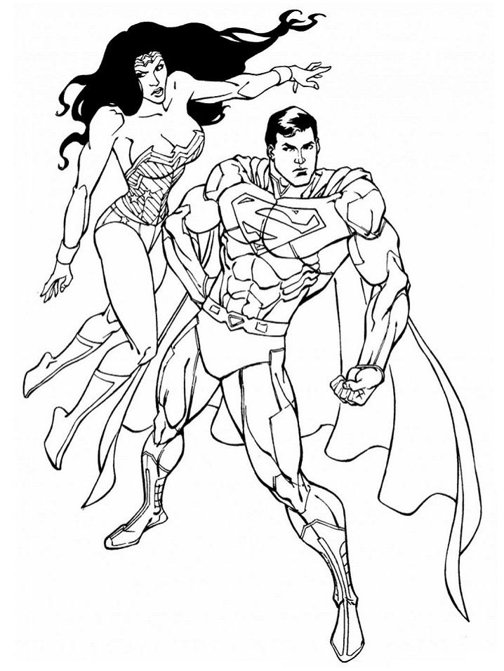 Раскраска Супермен и Чудо-женщина