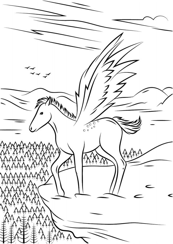 Раскраска Крылатый конь