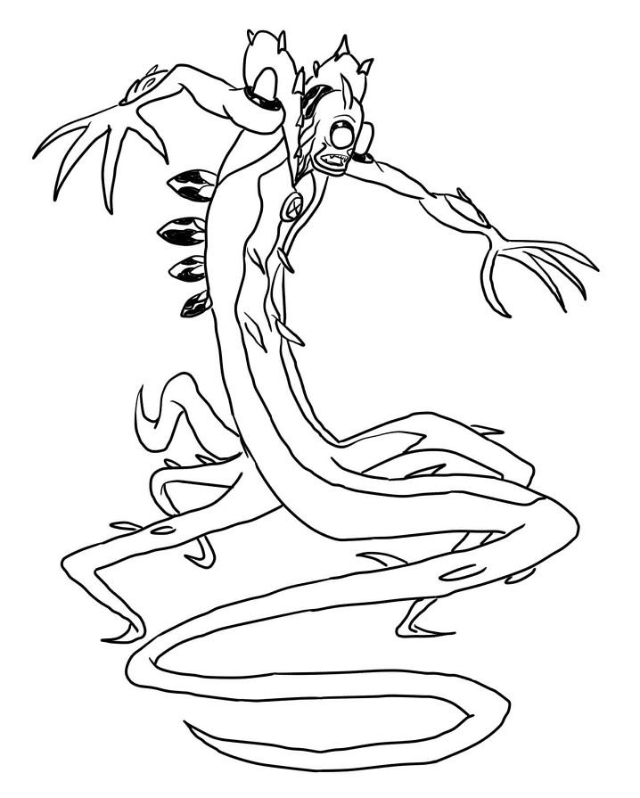 Раскраска Гуманоид-растение Лоза
