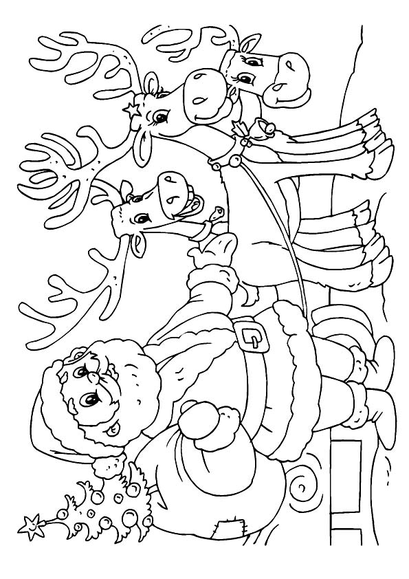 Раскраска Дед Мороз с тремя оленями