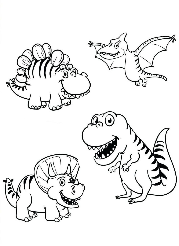 Раскраска милые динозавры