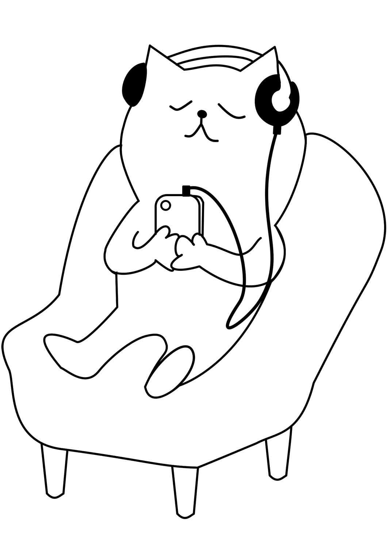 Раскраска кот слушает музыку