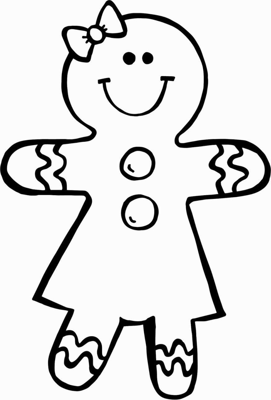 Раскраска Пряничная девушка улыбается