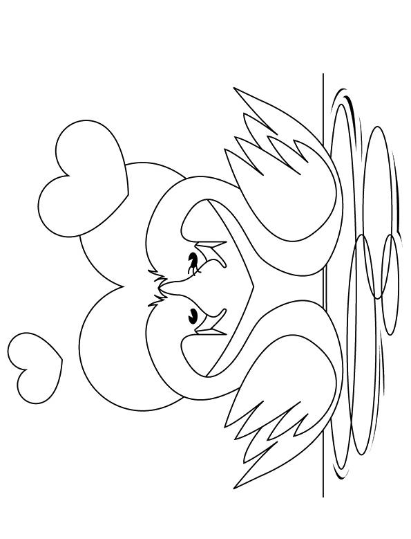 Раскраска Пара маленьких лебедей