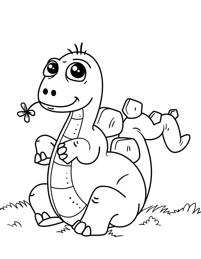 Раскраска Милый ребенок динозавр