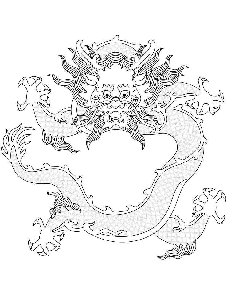 Раскраска Китайский дракон