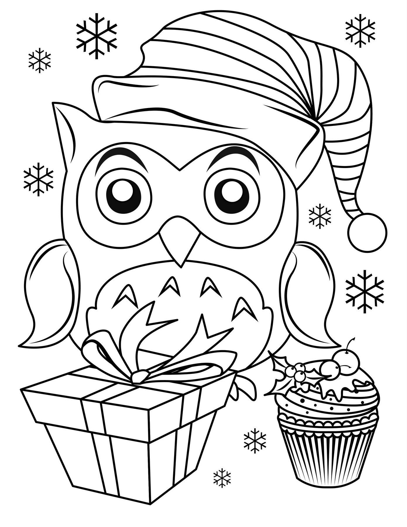Раскраска Pождественская сова