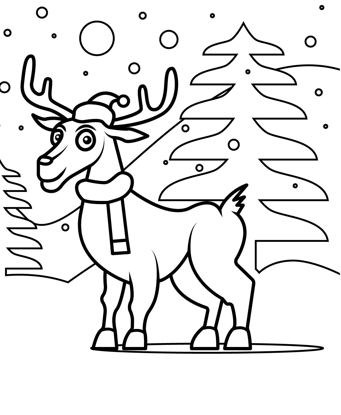 Раскраска рождественский олень