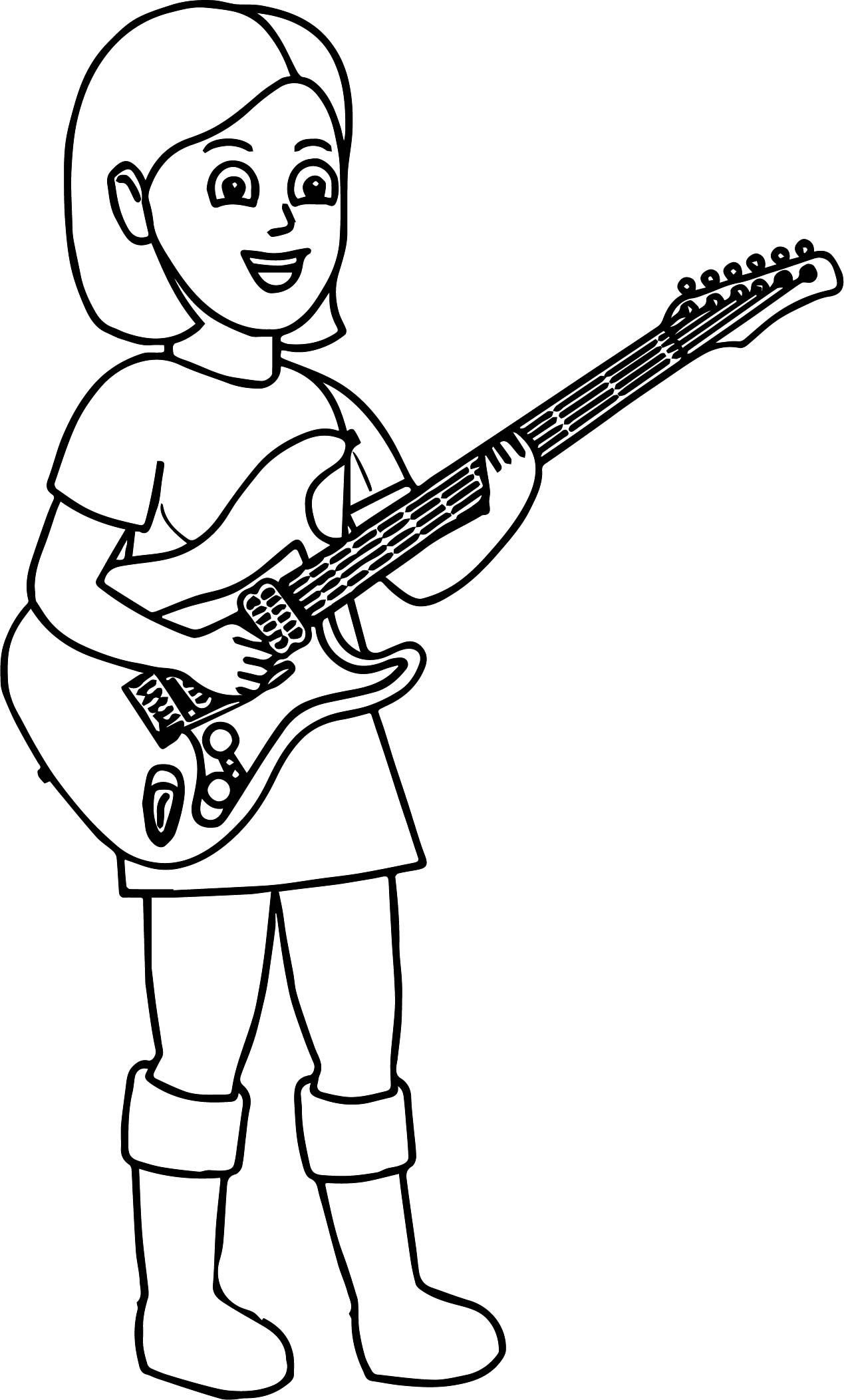 Раскраска Девушка играет на гитаре