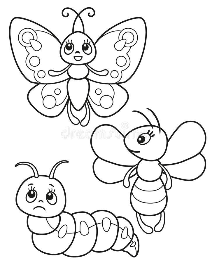 Раскраска бабочка, червь и пчела