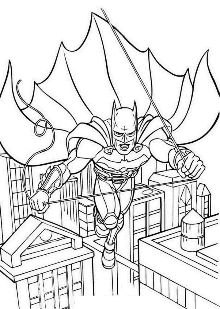 Раскраска Бэтмен качает веревку