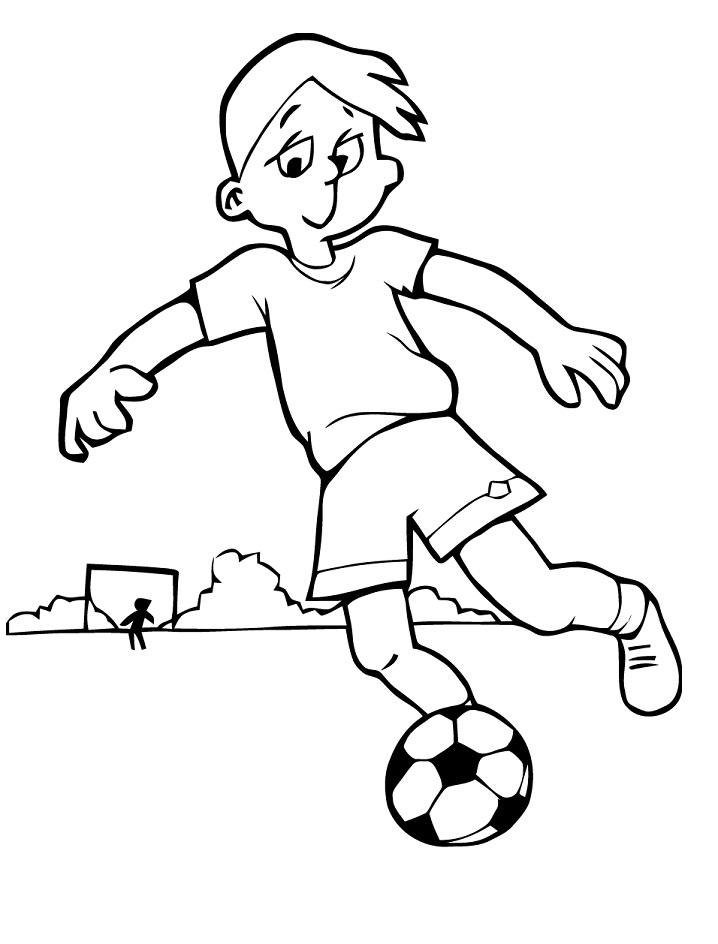 Раскраска мальчик ведет мяч