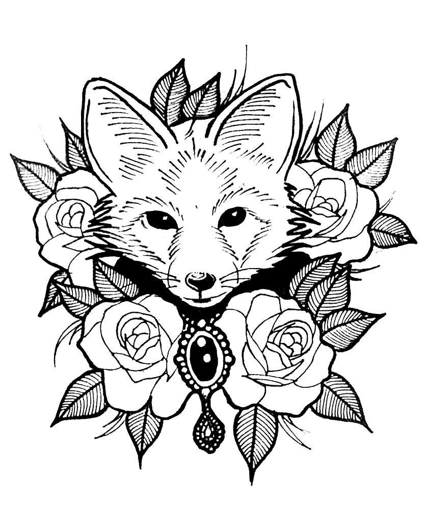 Раскраска Лиса с розой