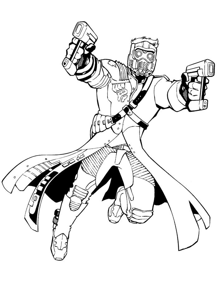 Раскраска Звёздный Лорд 2