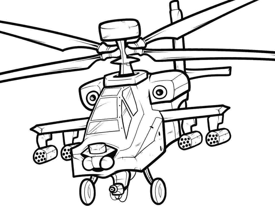 Раскраска боевой вертолет