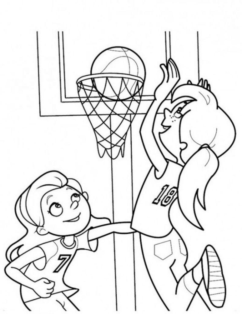 Раскраска девушки с баскетболом