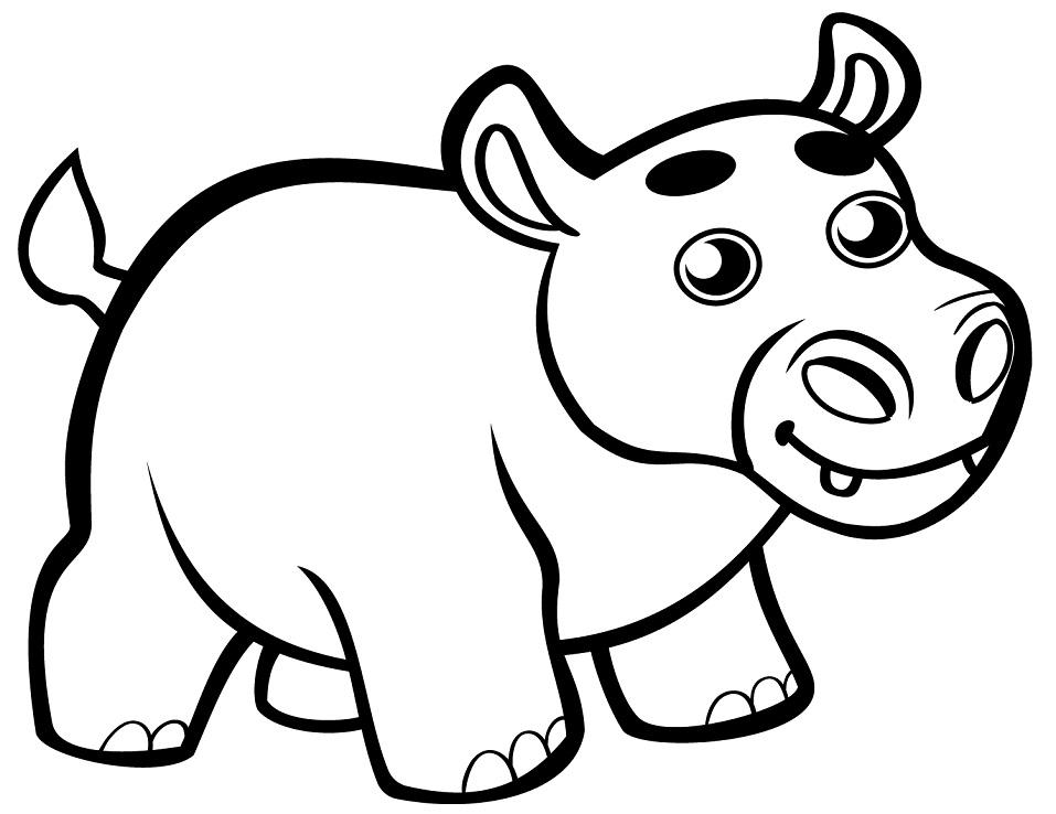 Раскраска Милый маленький бегемот