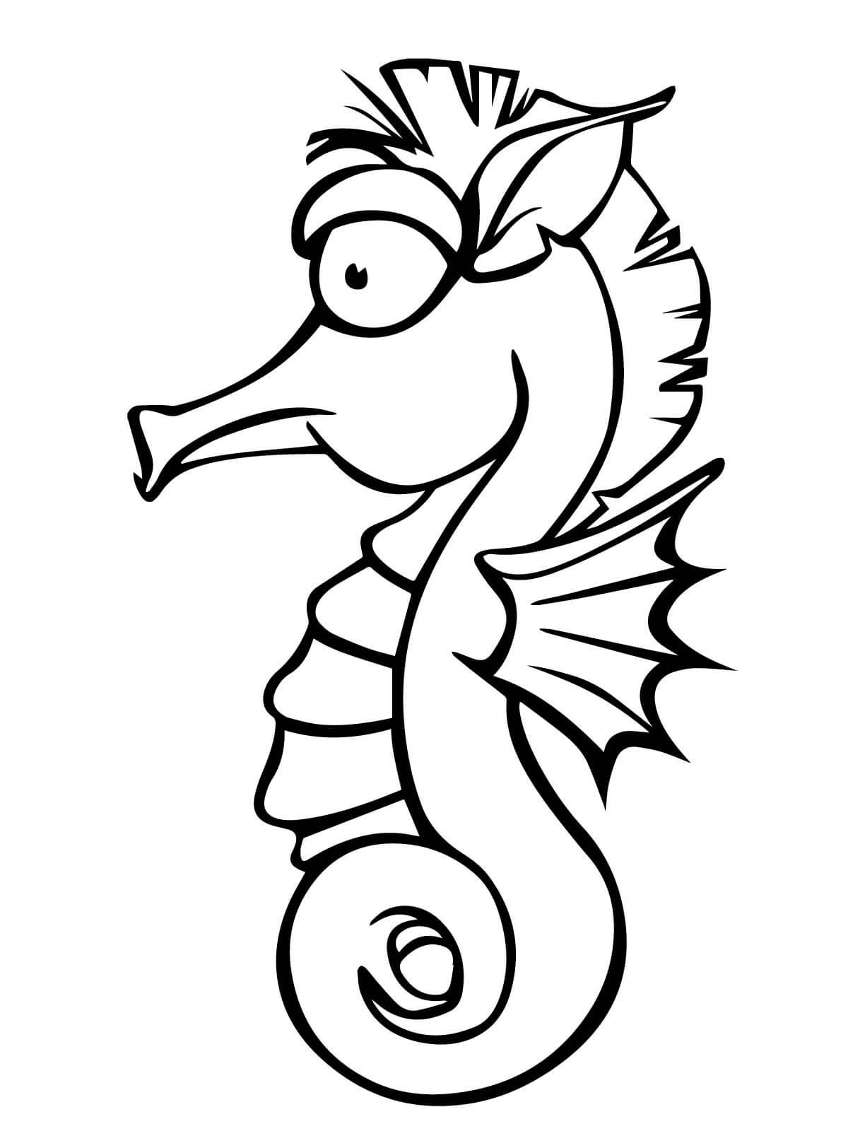 Раскраска забавный морской конек