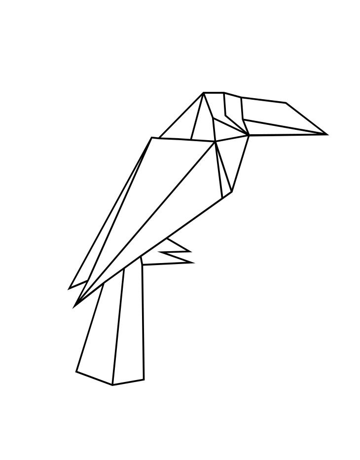 Раскраска бумажный тукан