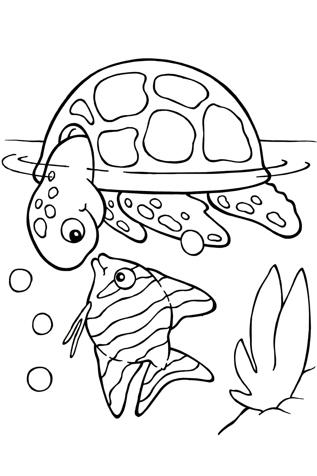 Раскраска черепаха и рыба